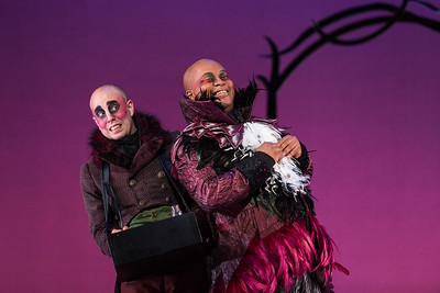 "Ensemble member Simon Dyer (L) and Musa Ngqungwana as Gottardo in The Glimmerglass Festival's production of ""The Thieving Magpie"""