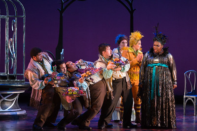 "R to L: Leah Hawkins as Lucia and Allegra De Vita as Pippo with members of the ensemble in The Glimmerglass Festival's production of Rossini's ""The Thieving Magpie."" Photo: Karli Cadel/The Glimmerglass Festival"