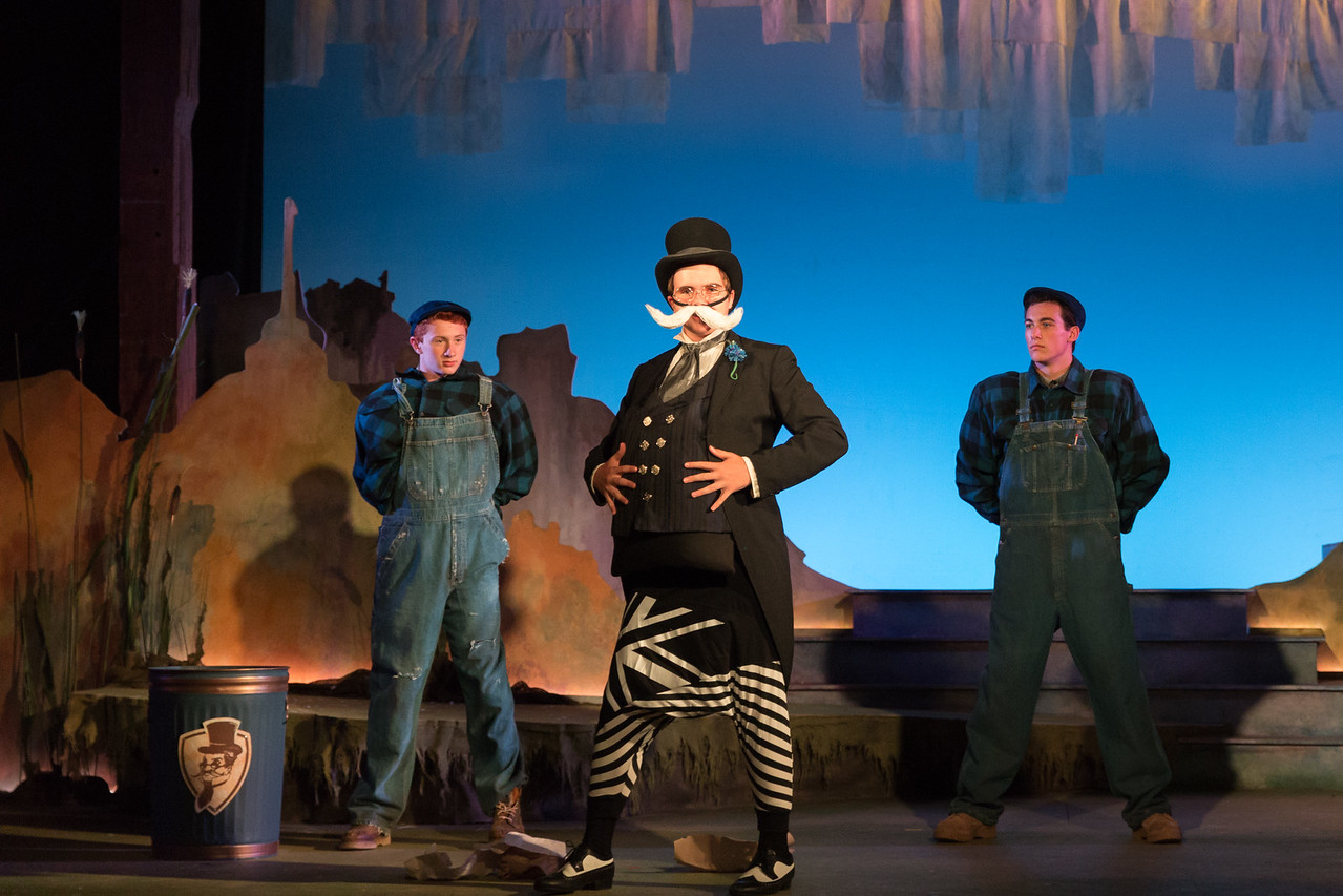 """L to R: Ensemble member Aiden DeLanoy, Morgan Hill-Edgar as the Mayor  and ensemble member Shane Bray in The Glimmerglass Festival's world-premiere production of Laura Karpman and Kelley Rourke's """"Wilde Tales."""" Photo: Karli Cadel/The Glimmerglass Festival."""