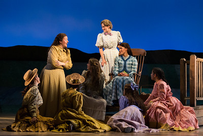 "Top, left to right: Mary Evelyn Healey as Ellen, Katrina Galka as Kate and Vanessa Becerra as Laurey in The Glimmerglass Festival's 2017 production of Rodgers and Hammerstein's ""Oklahoma!"" Photo: Karli Cadel/The Glimmerglass Festival"