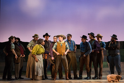 "Judith Skinner as Aunt Eller (left) and Michael Roach as Will Parker (center) with members of the ensemble in The Glimmerglass Festival's 2017 production of Rodgers and Hammerstein's ""Oklahoma!"" Photo: Karli Cadel/The Glimmerglass Festival"