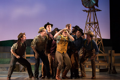"Michael Roach as Will Parker (center) with members of the ensemble in The Glimmerglass Festival's 2017 production of Rodgers and Hammerstein's ""Oklahoma!"" Photo: Karli Cadel/The Glimmerglass Festival"