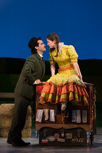 "Dylan Morrongiello as Ali Hakim and Emma Roos as Ado Annie Carnes in The Glimmerglass Festival's 2017 production of Rodgers and Hammerstein's ""Oklahoma!"" Photo: Karli Cadel/The Glimmerglass Festival"