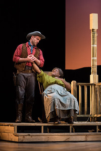 "Jarrett Ott as Curly and Judith Skinner as Aunt Eller in The Glimmerglass Festival's 2017 production of Rodgers and Hammerstein's ""Oklahoma!"" Photo: Karli Cadel/The Glimmerglass Festival"