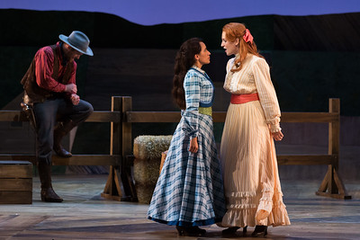 "L to R: Jarrett Ott as Curly, Vanessa Becerra as Laurey and Kayleigh Decker as Gertie in The Glimmerglass Festival's 2017 production of Rodgers and Hammerstein's ""Oklahoma!"" Photo: Karli Cadel/The Glimmerglass Festival"