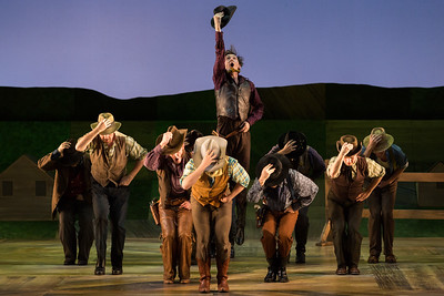 "Tucker Reed Breder as Mike (center) and members of the company in The Glimmerglass Festival's 2017 production of Rodgers and Hammerstein's ""Oklahoma!"" Photo: Karli Cadel/The Glimmerglass Festival"