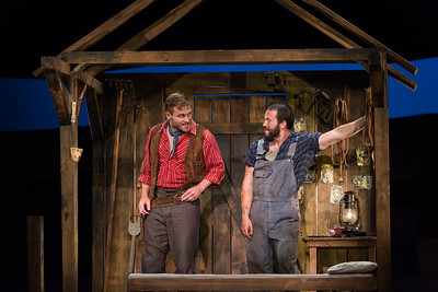 "Jarrett Ott as Curly and Michael Hewitt as Jud Fry in The Glimmerglass Festival's 2017 production of Rodgers and Hammerstein's ""Oklahoma!"" Photo: Karli Cadel/The Glimmerglass Festival"
