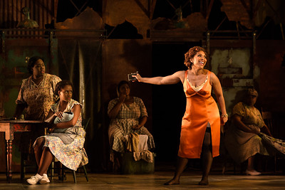 "L to R: Simone Z. Paulwell as Serena, Meroë Khalia Adeeb as Clara and Talise Trevigne as Bess  in The Glimmerglass Festival's 2017 production of The Gershwins' ""Porgy and Bess."" Photo: Karli Cadel/The Glimmerglass Festival"