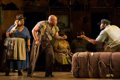"L  to R: Judith Skinner as Maria, Musa Ngqungwana as Porgy, and Nicholas Davis as Jim in The Glimmerglass Festival's 2017 production of The Gershwins' ""Porgy and Bess."" Photo: Karli Cadel/The Glimmerglass Festival"