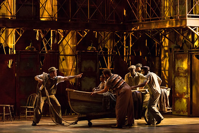 """Justin Austin as Jake with members of the ensemble  in The Glimmerglass Festival's 2017 production of The Gershwins' """"Porgy and Bess."""" Photo: Karli Cadel/The Glimmerglass Festival"""
