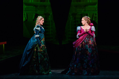 "Katrina Galka as Atalanta and Emily Pogorelc as Romilda in The Glimmerglass Festival's 2017 production of Handel's ""Xerxes."" Photo: Karli Cadel/The Glimmerglass Festival"