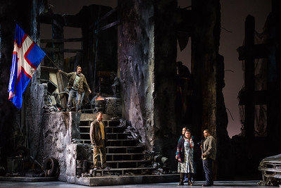 "L to R: Aleks Romano as Aurelio, Adrian Timpau as Eustachio de Saint-Pierre, Makoto Winkler as Pietro de Wisants, Leah Crocetto as Eleanora, and Chaz'men Williams-Ali as Giovanni d'Aire in The Glimmerglass Festival's 2017 production of the American premiere of Donizetti's ""The Siege of Calais."" Photo: Karli Cadel/The Glimmerglass Festival"