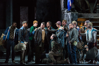 "Adrian Timpau as Eustachio (center) with members of the company in The Glimmerglass Festival's 2017 production of Donizetti's ""The Siege of Calais."" Photo: Karli Cadel/The Glimmerglass Festival"