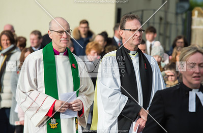 Monsignor Peter O'Reilly and Dean Kenneth Hall both paid there respects and took part at the service in Enniskillen.  Picture: Ronan McGrade