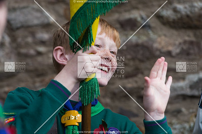 Reuben McDaid waves to a friend before the parade in Ballinamallard.  Picture: Ronan McGrade
