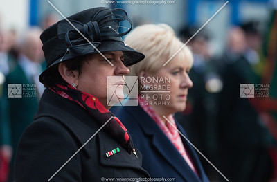 DUP leader Arlene Foster and Fine Gael TD Heather Humphreys pay their respects at the Enniskillen Cenotaph on Remembrance Sunday.  Picture: Ronan McGrade