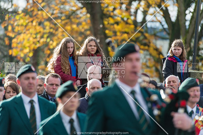 Youngsters get a better vantage point at the Enniskillen Remembrance Day service.  Picture: Ronan McGrade