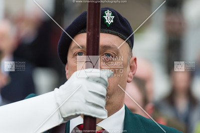 A standard bearer at the Enniskillen Remembrance Sunday service.  Picture: Ronan McGrade