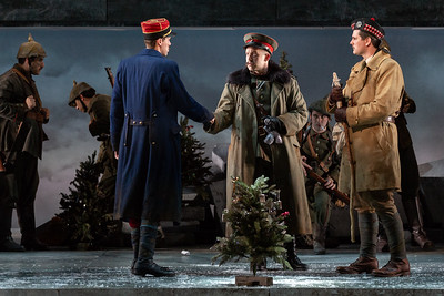 "L to R: Michael Miller as Lieutenant Audebert, Michael Hewitt as Lieutenant Horstmayer and Jonathan Bryan as Lieutenant Gordon in The Glimmerglass Festival's 2018 production of Kevin Puts and Mark Campbell's ""Silent Night."" Photo: Karli Cadel/The Glimmerglass Festival"
