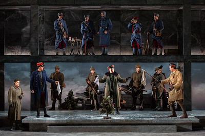 "Foreground L to R: Arnold Livingston Geis as Nikolaus Sprink, Michael Miller as Lieutenant Audebert, Michael Hewitt as Lieutenant Horstmayer and Jonathan Bryan as Lieutenant Gordon in The Glimmerglass Festival's 2018 production of Kevin Puts and Mark Campbell's ""Silent Night."" Photo: Karli Cadel/The Glimmerglass Festival"