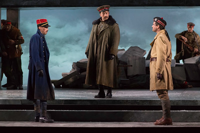 "Michael Miller as Lieutenant Audebert, Michael Hewitt as Lieutenant Horstmayer and Jonathan Bryan as Lieutenant Gordon in The Glimmerglass Festival's 2018 production of Kevin Puts and Mark Campbell's ""Silent Night."" Photo: Connor Lange/The Glimmerglass Festival"