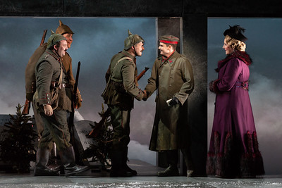 "Maxwell Levy, Stephen Martin and Charles H. Eaton as German soldiers with Arnold Livingston Geis as Nikolaus Sprink and Mary Evelyn Hangley as Anna Sørensen in The Glimmerglass Festival's 2018 production of Kevin Puts and Mark Campbell's ""Silent Night."" Photo: Karli Cadel/The Glimmerglass Festival"