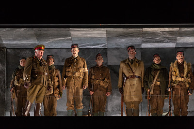 "Dale Travis as The British Major with members of the company in The Glimmerglass Festival's 2018 production of Kevin Puts and Mark Campbell's ""Silent Night."" Photo: Karli Cadel/The Glimmerglass Festival"