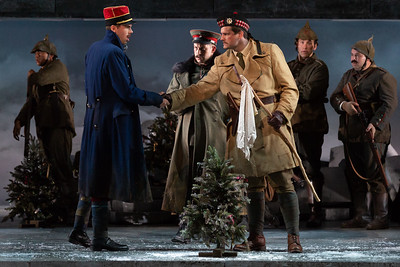 "Michael Miller as Lieutenant Audebert, Michael Hewitt as Lieutenant Horstmayer and Jonathan Bryan as Lieutenant Gordon in The Glimmerglass Festival's 2018 production of Kevin Puts and Mark Campbell's ""Silent Night."" Photo: Karli Cadel/The Glimmerglass Festival"