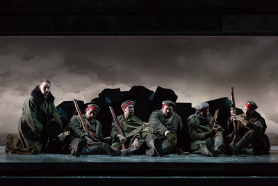 "Michael Hewitt as Lieutenant Horstmayer with Michael Pitocchi, Brian Wallin, Maxwell Levy, Schyler Vargas and Charles H. Eaton as German soldiers in The Glimmerglass Festival's 2018 production of Kevin Puts and Mark Campbell's ""Silent Night."" Photo: Karli Cadel/The Glimmerglass Festival"