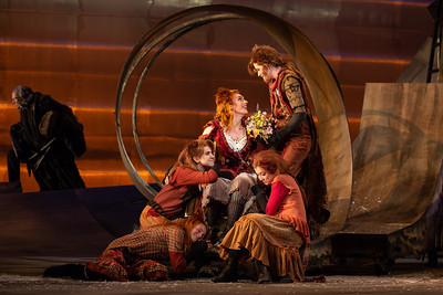 "CLockwise from left: Lilly Grady and Catie LeCours as kits, Joanna Latini as the Vixen, Alyssa Martin as the Fox, and Maggie Stephens as a kit in The Glimmerglass Festival's 2018 production of Janáček's ""The Cunning Little Vixen."" Photo: Karli Cadel/The Glimmerglass Festival"