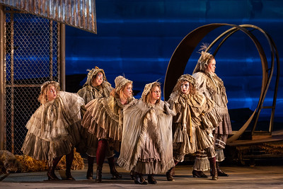 "L to R: Michelle Arotsky, Anju Cloud, Alyssa Martin, Rachel Kay, Olivia Barbieri, Gretchen Krupp as Hens in The Glimmerglass Festival's 2018 production of Janáček's ""The Cunning Little Vixen."" Photo: Karli Cadel/The Glimmerglass Festival"