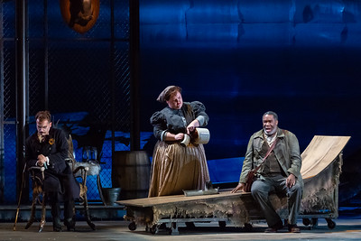 "L to R: Dylan Morrongiello as the Schoolmaster, Gretchen Krupp as Pasek's Wife and Eric Owens as the Forester in The Glimmerglass Festival's 2018 production of Janáček's ""The Cunning Little Vixen."" Photo: Connor Lange/The Glimmerglass Festival"