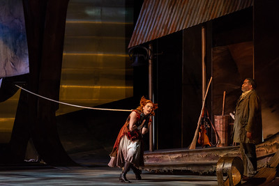 "Joanna Latini as the Vixen and Eric Owens as the Forester in The Glimmerglass Festival's 2018 production of Janáček's ""The Cunning Little Vixen."" Photo: Karli Cadel/The Glimmerglass Festival"