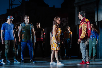 "L to R: PJ Palmer as Action, Michael Hewitt as Diesel, Vancesa Becerra as Maria and Schyler Vargas as Chino in The Glimmerglass Festival's 2018 production of Bernstein's ""West Side Story."" Photo: Karli Cadel/The Glimmerglass Festival"