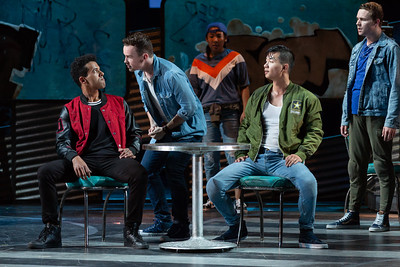 "Corey Bourbonniere as Bernardo, Joseph Leppek as Tony, Brian Vu as Riff and PJ Palmer as Action in The Glimmerglass Festival's 2018 production of Bernstein's ""West Side Story."" Photo: Karli Cadel/The Glimmerglass Festival"