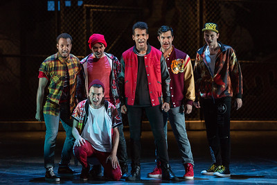 "Jawan Cliff-Morris as Indio,  Brian Wallin as Luis, Matthew Steriti as Pepe, Corey Bourbonniere as Bernardo, Schyler Vargas as Chino, Michael Pandolfo as Anxious in The Glimmerglass Festival's 2018 production of Bernstein's ""West Side Story."" Photo: Karli Cadel/The Glimmerglass Festival"