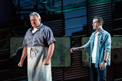 "Dal Travis as Doc and Joseph Leppek as Tony in The Glimmerglass Festival's 2018 production of Bernstein's ""West Side Story."" Photo: Karli Cadel/The Glimmerglass Festival"