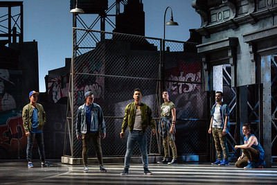 "L to R: Spencer Britten as Gee-Tar, PJ Palmer as Action, Brian Vu as Riff, Tucker Reed Breder as Big Deal, Andrew Ryan as A-Rab and Tyler Whitaker as Baby John in The Glimmerglass Festival's 2018 production of Bernstein's ""West Side Story."" Photo: Karli Cadel/The Glimmerglass Festival"