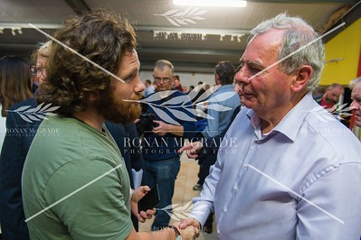 Impartial Reporter journalist Ciaran Flaherty speaking to Sean Quinn.  Picture: Ronan McGrade