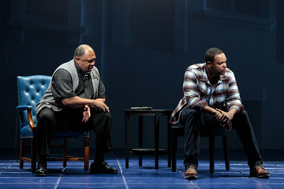 "Gordon Hawkins as The Reverend and Kenneth Kellogg as The Father in The Glimmerglass Festival's 2019 world premiere of Jeanine Tesori and Tazewell Thompson's ""Blue."" Photo: Karli Cadel/The Glimmerglass Festival"