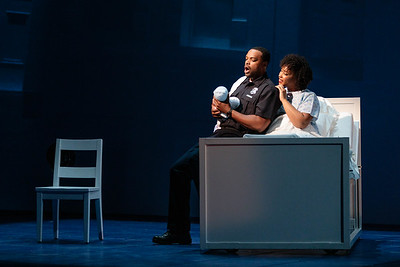 "Kenneth Kellogg as The Father and Briana Hunter as The Mother in The Glimmerglass Festival's 2019 world premiere of Jeanine Tesori and Tazewell Thompson's ""Blue."" Photo: Karli Cadel/The Glimmerglass Festival"