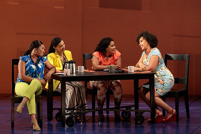 """(From left) Brea Renetta Marshall, Mia Athey and Ariana Wehr as The Girlfriends, with  Briana Hunter as The Mother in The Glimmerglass Festival's 2019 world premiere of Jeanine Tesori and Tazewell Thompson's """"Blue."""" Photo: Karli Cadel/The Glimmerglass Festival"""