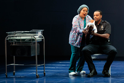 """Ariana Wehr as Nurse and Kenneth Kellogg as The Father in The Glimmerglass Festival's 2019 world premiere of Jeanine Tesori and Tazewell Thompson's """"Blue."""" Photo: Karli Cadel/The Glimmerglass Festival"""
