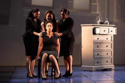 "(From left) Mia Athey as Girlfriend 3, Briana Hunter as The Mother, Ariana Wehr as Girlfriend 1 and Brea Renetta Marshall as Girlfriend 2 in The Glimmerglass Festival's 2019 world premiere of Jeanine Tesori and Tazewell Thompson's ""Blue."" Photo: Karli Cadel/The Glimmerglass Festival"