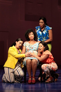 "(From left) Mia Athey as Girlfriend 3, Briana Hunter as The Mother, Brea Renetta Marshall as Girlfriend 2 and Ariana Wehr as Girlfriend 1 in The Glimmerglass Festival's 2019 world premiere of Jeanine Tesori and Tazewell Thompson's ""Blue."" Photo: Karli Cadel/The Glimmerglass Festival"