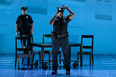 "(Front) Kenneth Kellogg as The Father in The Glimmerglass Festival's 2019 world premiere of Jeanine Tesori and Tazewell Thompson's ""Blue."" Photo: Karli Cadel/The Glimmerglass Festival"