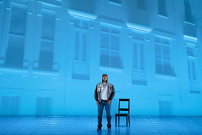 """Kenneth Kellogg as The Father in The Glimmerglass Festival's 2019 world premiere of Jeanine Tesori and Tazewell Thompson's """"Blue."""" Photo: Karli Cadel/The Glimmerglass Festival"""