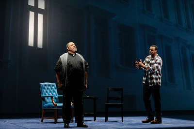 "(From left) Gordon Hawkins as The Reverend and Kenneth Kellogg as The Father in The Glimmerglass Festival's 2019 world premiere of Jeanine Tesori and Tazewell Thompson's ""Blue."" Photo: Karli Cadel/The Glimmerglass Festival"