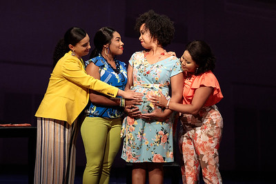 "(From left) Mia Athey as Girlfriend 3, Brea Renetta Marshall as Girlfriend 2, Briana Hunter as The Mother and Ariana Wehr as Girlfriend 1 in The Glimmerglass Festival's 2019 world premiere of Jeanine Tesori and Tazewell Thompson's ""Blue."" Photo: Karli Cadel/The Glimmerglass Festival"