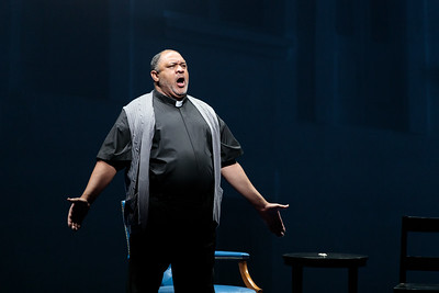 """Gordon Hawkins as The Reverend in The Glimmerglass Festival's 2019 world premiere of Jeanine Tesori and Tazewell Thompson's """"Blue."""" Photo: Connor Lange/The Glimmerglass Festival"""